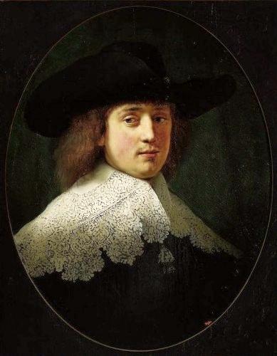 Rembrandt (Dutch, 1606-1669) portrait of a man identified as Maerten Soolmans, oak on panel, painted in 1634