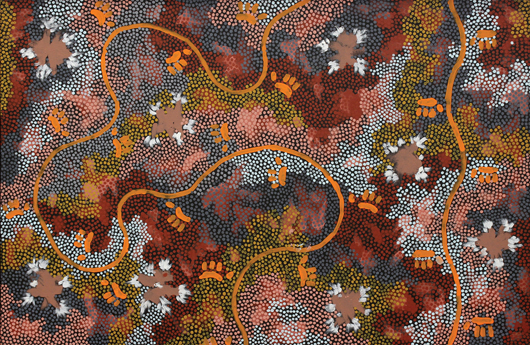Clifford Possum Tjapaltjarri (Aborigine, 1932-2002), 'Possum Dreaming,' 1994. This large acrylic dot painting sold to a LiveAuctioneers bidder for $110,000 on Feb. 16, 2014. Clars Auction Gallery image.