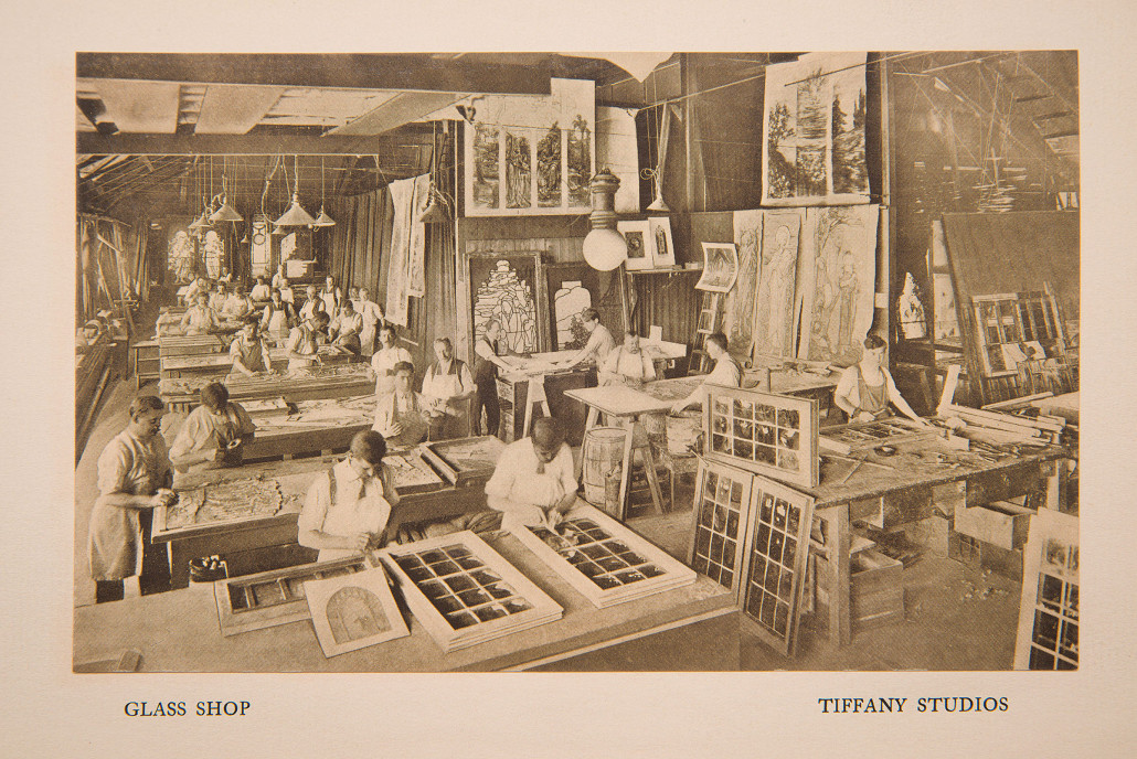 In the Tiffany workshop, crews of craftsmen transformed artists' designs into paintings in glass. Garden Museum Collection, Michaan's Auctions