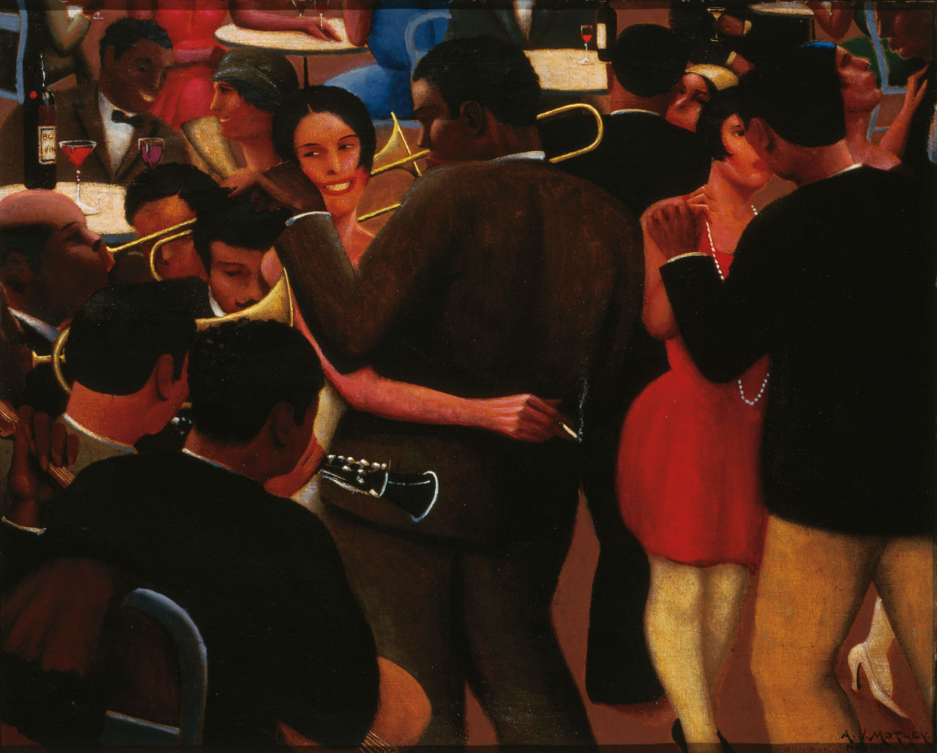 Archibald J. Motley Jr., 'Blues,' 1929. oil on canvas, 36 × 42 inches (91.4 × 106.7 cm). Collection of Mara Motley M.D., and Valerie Gerrard Browne. Image courtesy of the Chicago History Museum, Chicago, Illinois. © Valerie Gerrard Browne