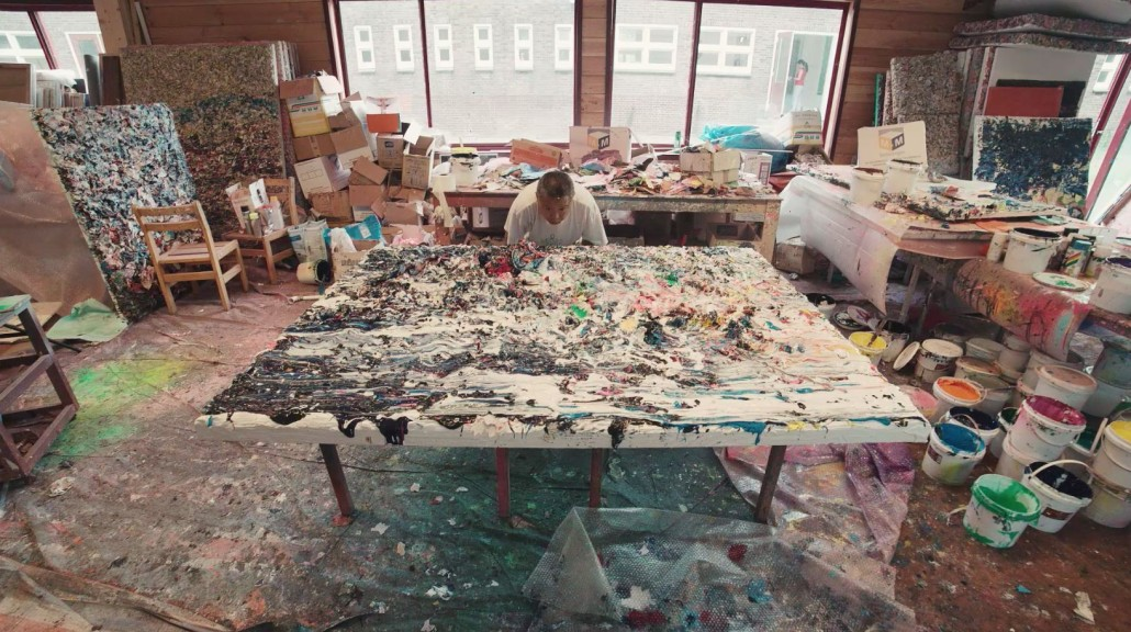 Rotterdam-based Chinese artist Zhuang Hong Yi in his studio, preparing for his first exhibition at UNIT London in Soho. Image courtesy of UNIT London.