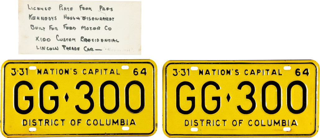 License plates from the limousine in which President Kennedy was assassinated on Nov. 22, 1963 in Dallas. Heritage Auctions image