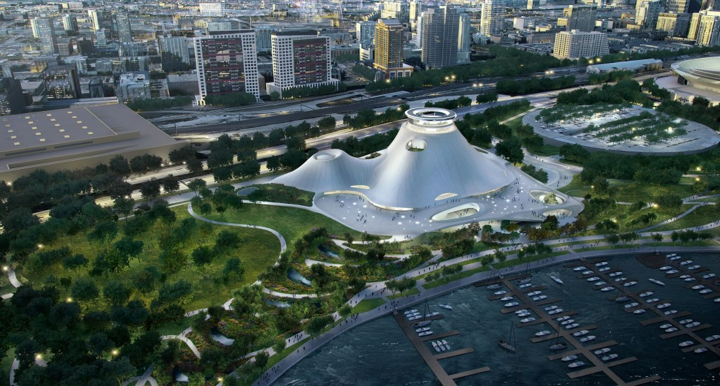 A bird's eye view of the Lucas Museum of Narrative Art and surrounding park setting. Drawings courtesy of Lucas Museum of Narrative Art. Used under authorization. All rights reserved.