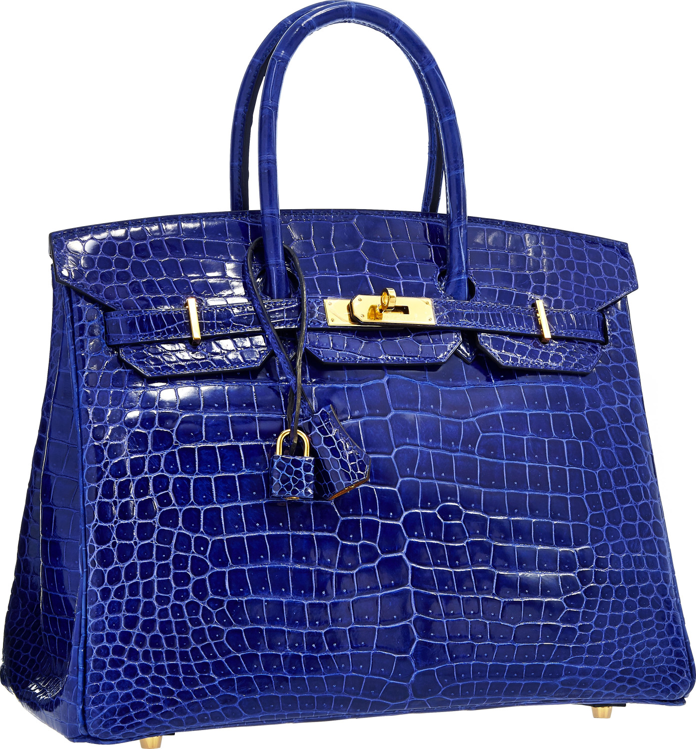 This Special Order Horseshoe 35cm Shiny Electric Blue Birkin in Porosus Crocodile, the most desirable material, brought $81,250 at a 2015 Heritage New York Valentine Signature Auction. Courtesy Heritage Auctions
