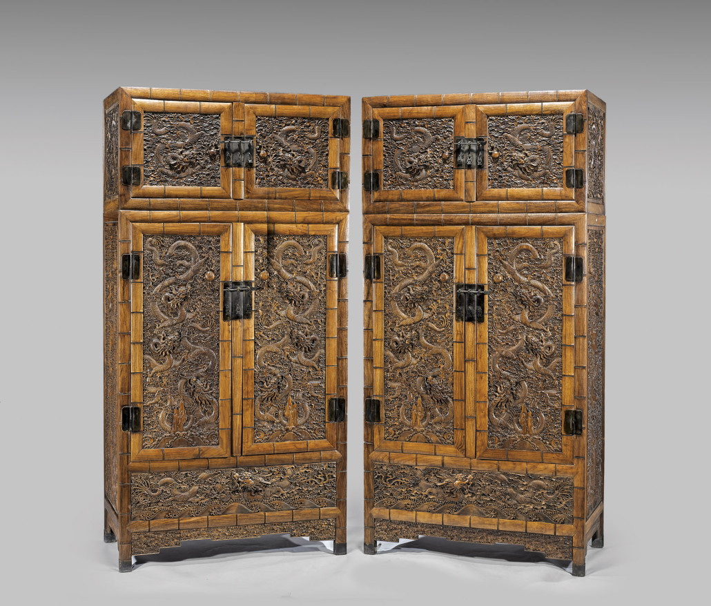 Although not antique, this pair of large, Chinese Ming-style huanghuali stacked wood cabinets of tall rectangular form, 94 inches high – sold for $33,500 at Chait in 2014. Courtesy I.M. Chait Auctioneers, Beverly Hills, Calif.