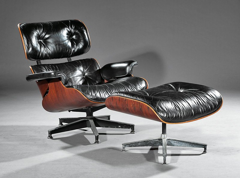 An Eames lounge chair and ottoman, circa 1977, having Herman Miller labels. Image courtesy of LiveAuctioneers.com archive and Neal Auction Co.
