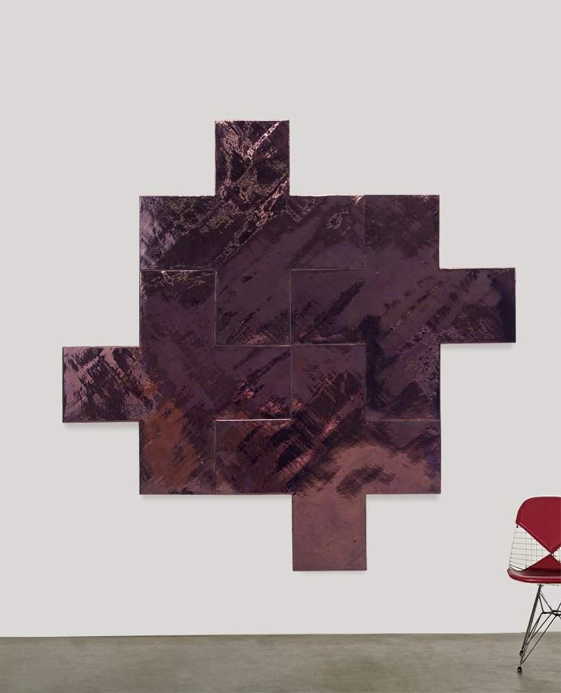 Mary Corse's 'Copper-Four Crosses' (1979) realized $100,000. Los Angeles Modern Auctions image