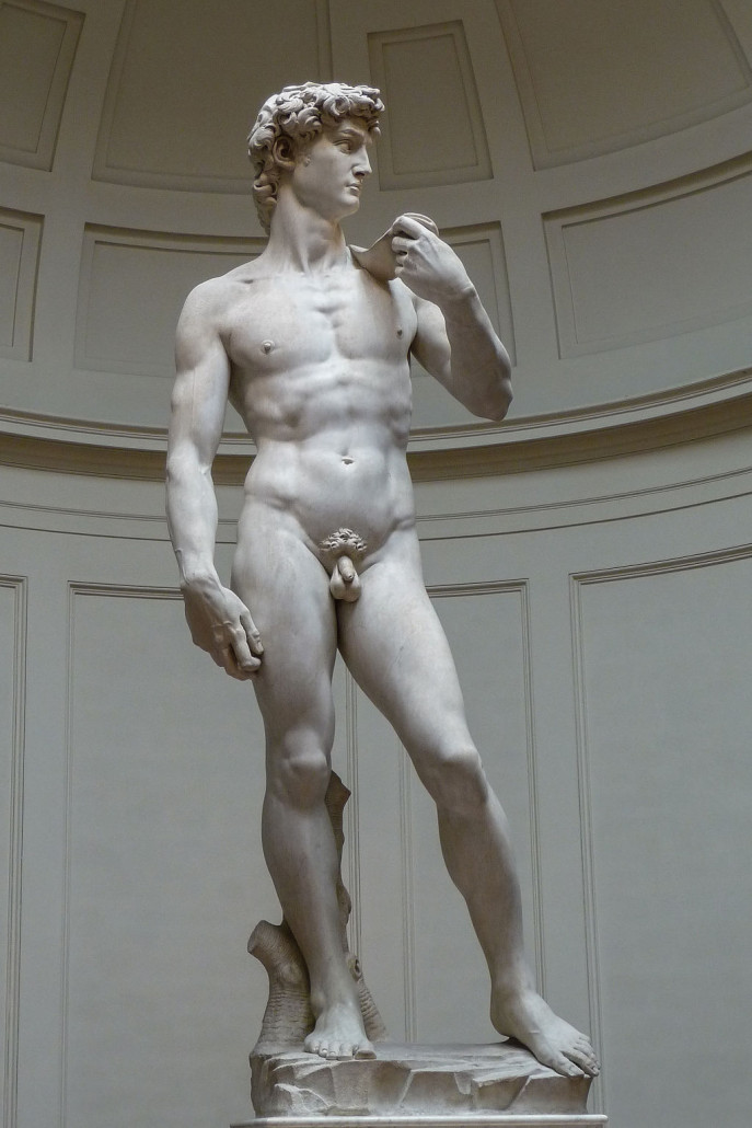 Michelangelo's David, 1501-1504, Galleria dell'Accademia (Florence). Photo by Jorg Bittner Unna, licensed under the Creative Commons Attribution 3.0 Unported license.