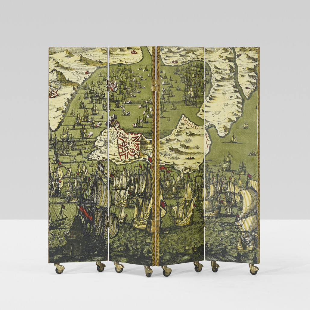 Folding screens presented a perfect surface for Fornasetti's inspired imagery; patterns range from the historical to the metaphysical. From an edition of 10, this 1954 design depicting 'Battaglia Navale' – a naval battle – was sold for $20,000 by Wright in 2014. Courtesy Wright Auctions.