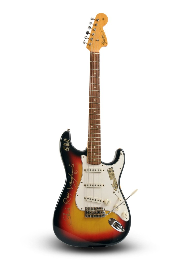 Lot 284 – Stevie Ray Vaughan-owned and signed Fender Stratocaster, circa 1966-67, which Vaughan played with Paul Ray and the Cobras in Austin, Texas from 1975 until 1977. Estimate: $250,000-$500,000. Guernsey's image