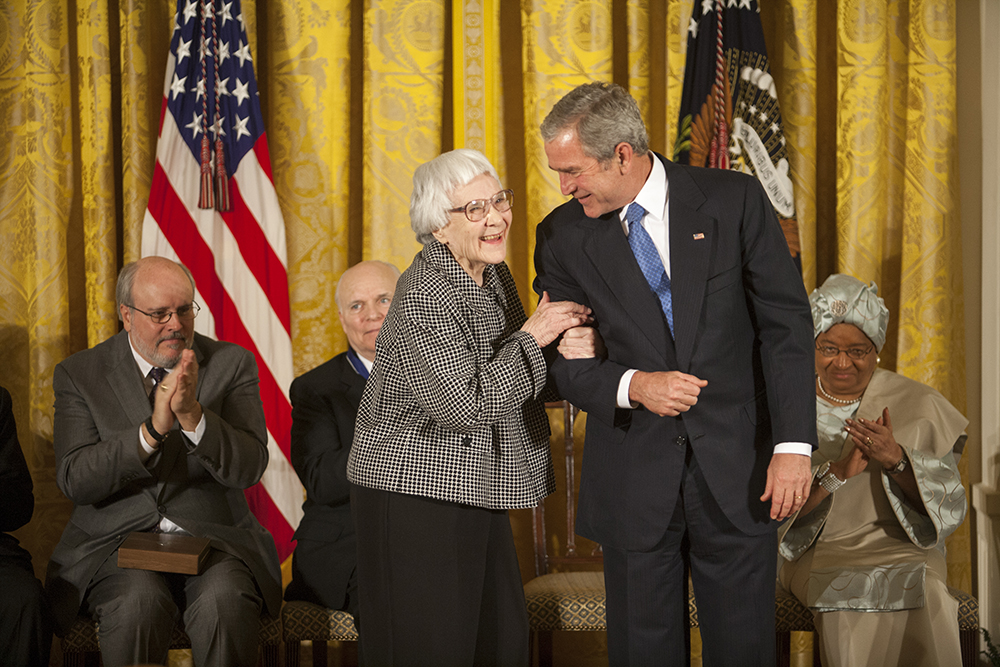 Harper Lee in 2007 when she was awarded the Presidential Medal of Freedom by President George W.  Bush. Image courtesy of Wikimedia Commons