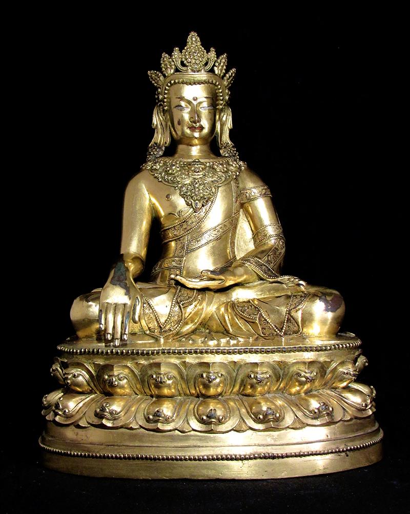 Lot 292 - antique Chinese Tibetan gilt Buddha [est.: $3,000-$5,000]. Roland Auctions NY image