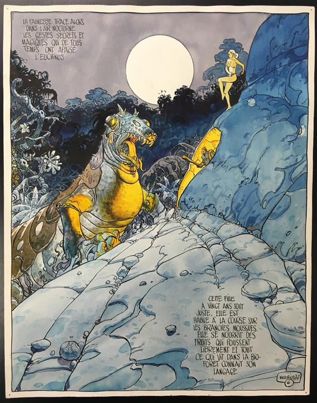 Original color art page by French artist, cartoonist and writer Moebius (1938-2012), drawn for Metal Hurlant in 1977 for 'The Ballade.' Philip Weiss Auctions image
