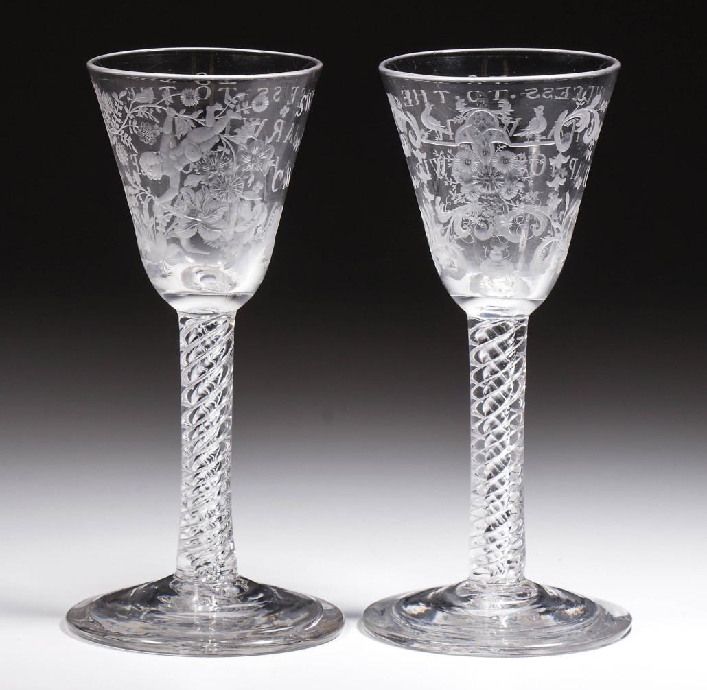 Pair English wine glasses
