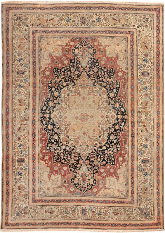 This late 19th century Mohtashem rug features a formal inset medallion woven in an elegant combination of colors. It measures 8 feet 6 inches by 11 feet 9 inches and sold for $44,000. Image courtesy of LiveAuctioneers.com archive and Nazmiyal Auctions