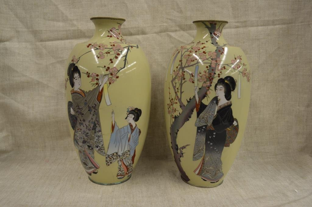 Pair of early 20th C. Meiji / Taisho period Japanese yellow cloisonne enamel vases, 12 3/4in. Estimate: $1,000-$1,500. Barry S. Slosberg Inc. image