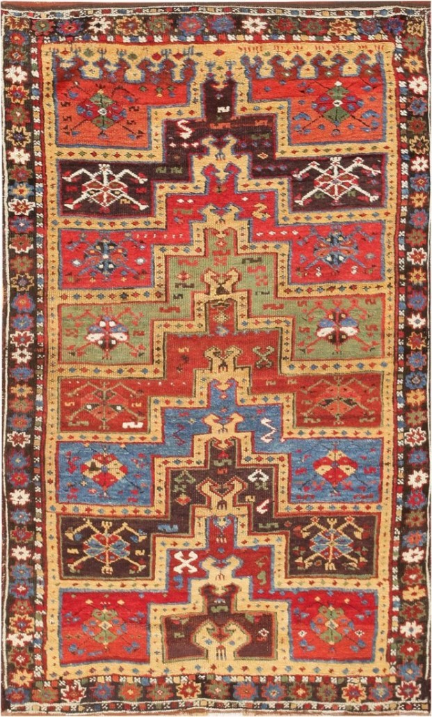 This Turkish Yuruk family prayer rug from the late 19th century is an example of a tribal rug. Measuring 4 feet by 7 feet, it sold for $4,800. Image courtesy of LiveAuctioneers.com archive and Nazmiyal Auctions