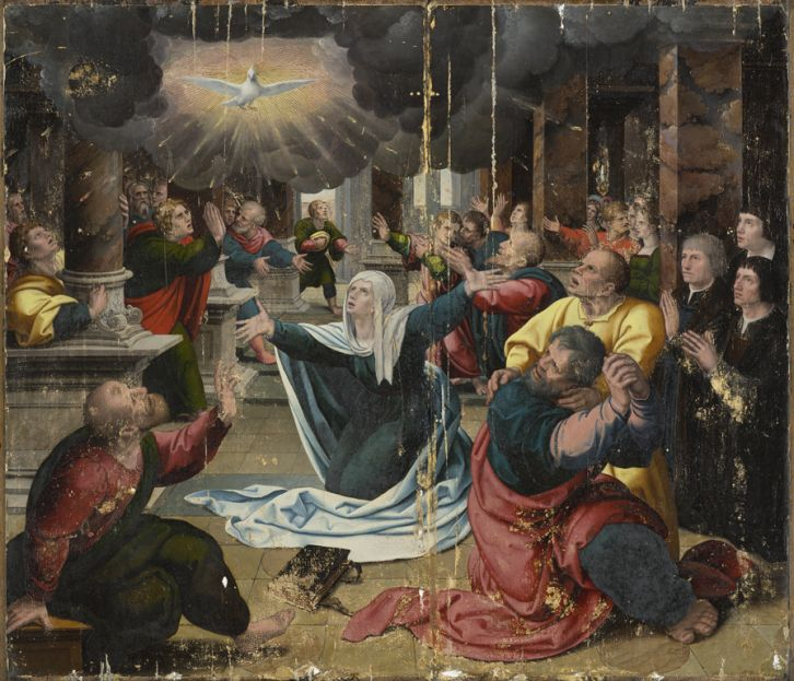 Conservation treatment of 'The Pentecost,' circa 1530, by a follower of Bernard van Orley, oil on panel, 37 1/2 x 43 1/2 in. Purchased with funds from the State of North Carolina.