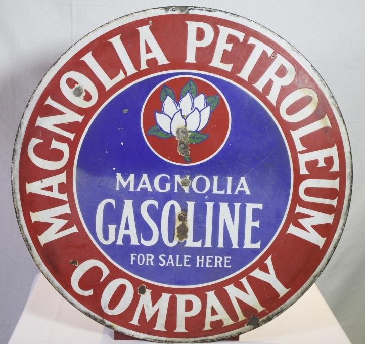Lot 127 – Magnolia Gasoline double-sided porcelain sign. Estimate: $300-$500. Quinn Galleries Image