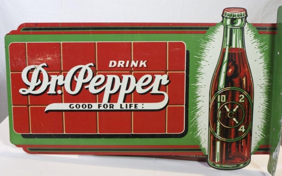 Lot 141 – Dr. Pepper enamel flange sign, 15in x 2in. Estimate: $400-$600. Quinn Galleries Image