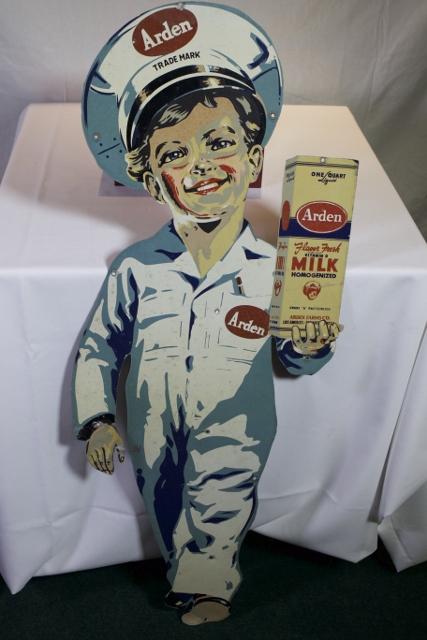 Lot 147– Arden Milk die-cut tin litho sign, 48in x 18in. Quinn Galleries Image