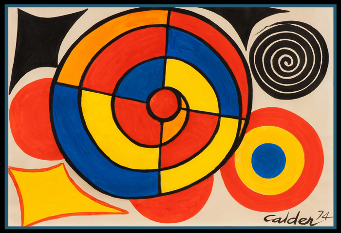 Gouache and ink on paper by Alexander Calder (American, 1898-1976) titled 'Segmented Spiral' (1974). Price realized: $100,625. Cottone Auctions image
