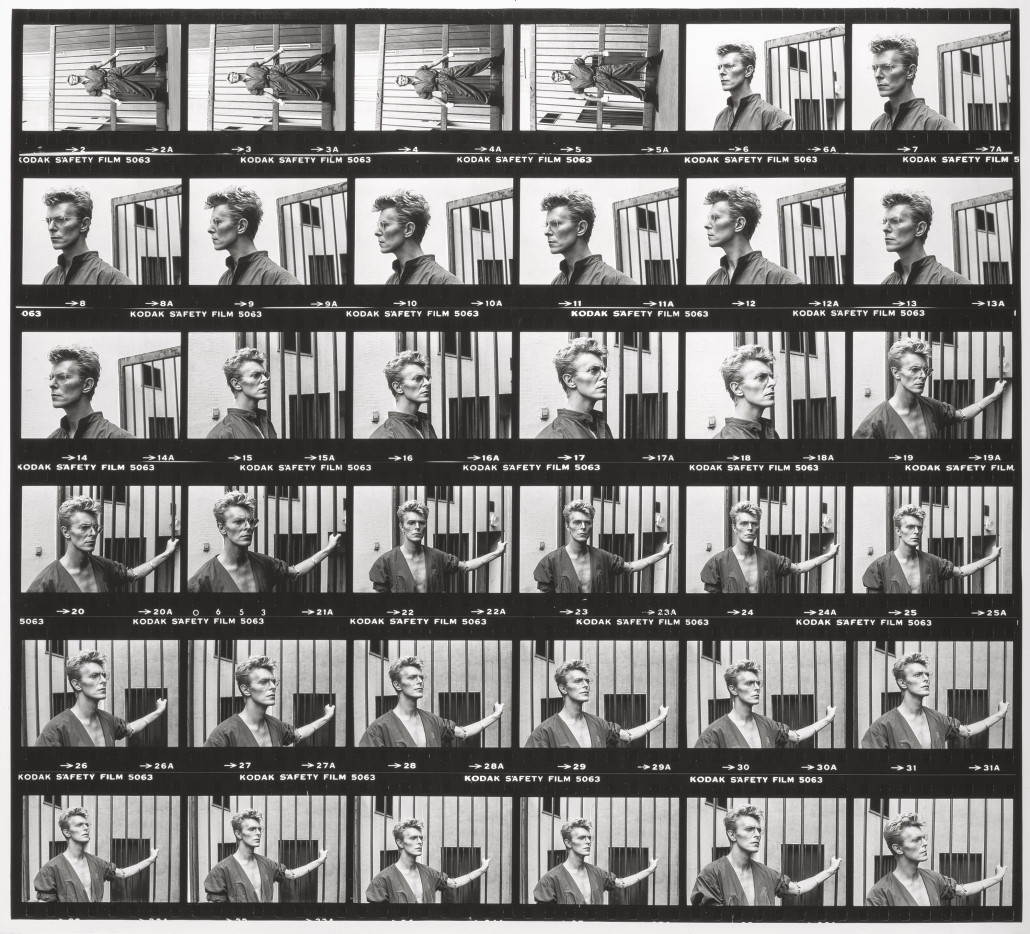 Enlarged contact print of David Bowie portraits by Helmut Newton. Estimate: $20,000-$30,000. Heritage Auctions image