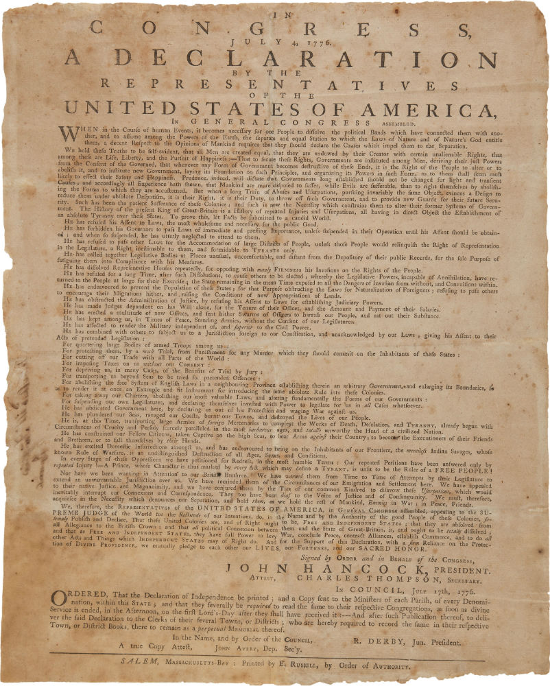 The Declaration of Independence, rare July 1776 broadside printing by Ezekiel Russell of Salem, Massachusetts-Bay. Estimate: $160,000-$240,000. Heritage Auctions image The Declaration of Independence, rare July 1776 broadside printing by Ezekiel Russell of Salem, Massachusetts-Bay. Estimate: $160,000-$240,000. Heritage Auctions image