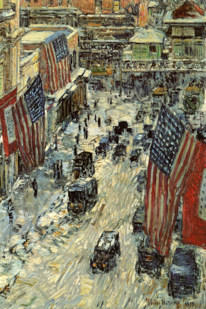 Childe Hassam's 'Flags on Fifty-Seventh Street, 1918,' which is also in the collection of the New-York Historical Society. Image courtesy of Wikimedia Commons