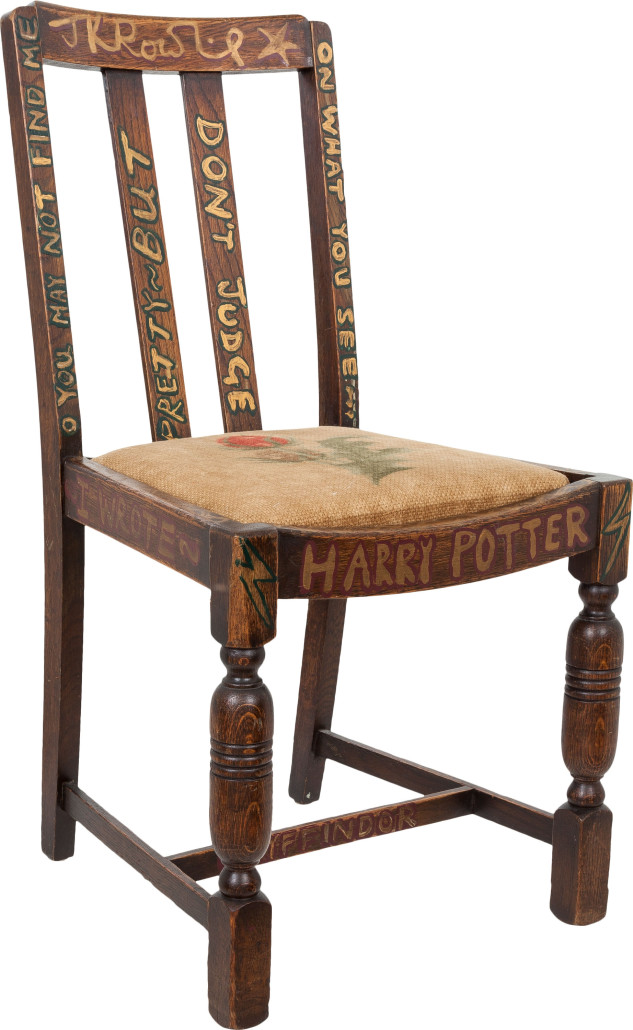 Author J.K. Rowling sat in this oak chair while she wrote two of her Harry Potter books. Heritage Auctions image