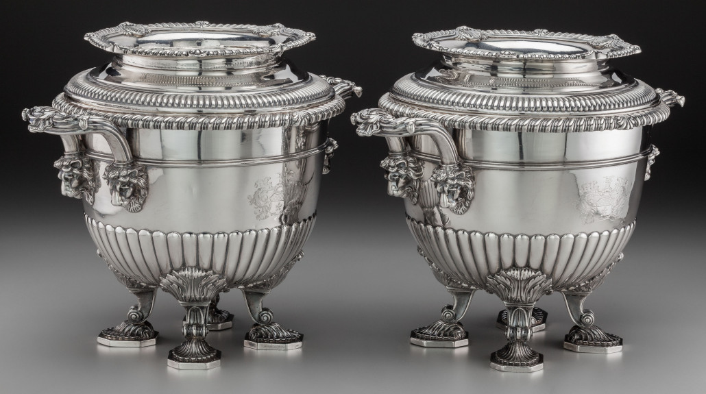 A pair of Paul Storr George III silver wine coolers, London, England, circa 1808, three-part construction, 10 inches high x 13 inches wide, 266.00 troy ounces. Estimate: $50,000-$70,000. Heritage Auctions image