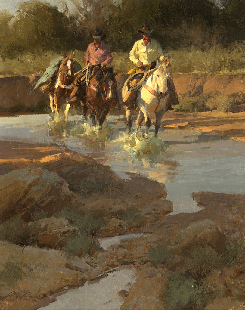 'The Wanderers' by Bill Anton (b. 1957 Chicago) is one of a number of modern and contemporary Western paintings consigned from the estate of Phoebe Hearst Cooke. Estimate: $7,000-$9,000. John Moran Auctioneers image