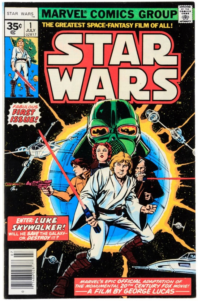 Marvel Comics' 'Star Wars No. 1' (1977), rare 35-cent variant. Price realized: $7,200. PBA Galleries image