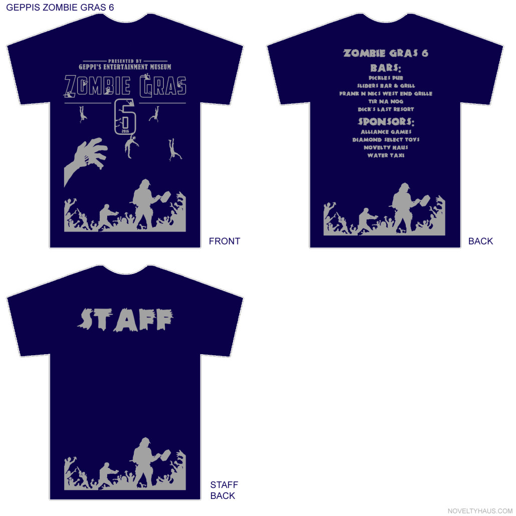 Here's a look at this year's official Zombie Gras t-shirt design. Courtesy GEM