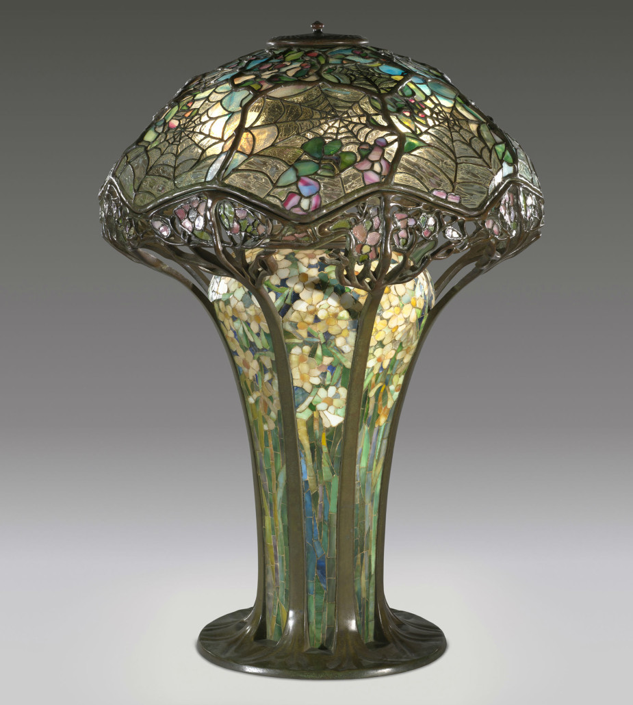 Introduced around 1900, the Cobweb or Spiderweb Lamp was one of Tiffany's most intricate designs. Difficult to produce and expensive to purchase when made – a steep $500. Michaan's Auctions sold one in 2012 for $3.8 million. Courtesy of the Virginia Museum of Fine Arts