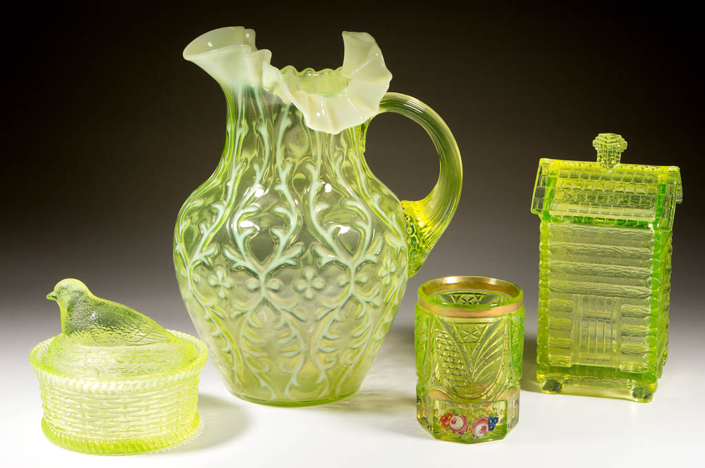 A sampling of Vaseline glass from the Edward Kleppinger collection, which will be sold beginning April 1. Jeffrey S. Evans & Associates image