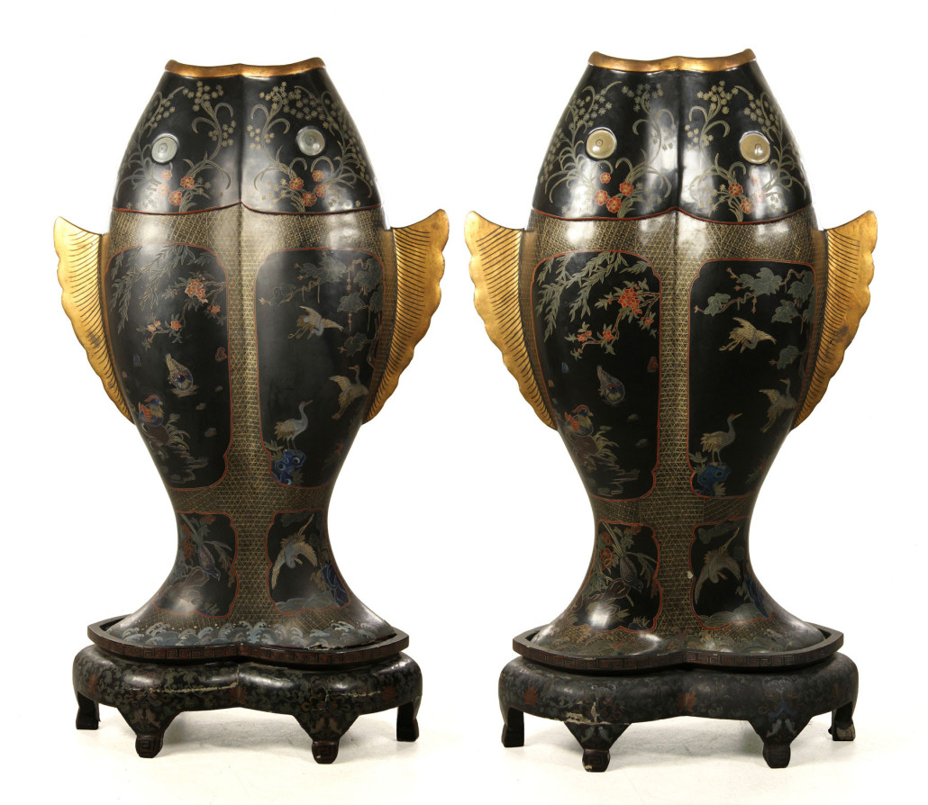Pair of monumental Meiji period lacquer double fish vases. Kaminski Auctions image