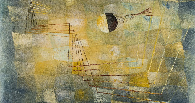 Harry Bertoia, 'Monoprint,' c. 1942-1943, color relief monoprint. Image: 12 1/8 x 16 3/8 inches; sheet: 12 1/2 × 16 3/4 inches. A.E. Gallatin Collection.