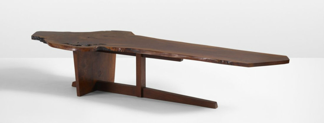 This exceptional Minguren II walnut coffee table by George Nakashima, 1973, was originally designed for the Rockefellers' Japanese house in Pocantico Hills, New York. However it did not fit and was not used in the interior. Estimate: $120,000-$180,000. Wright image