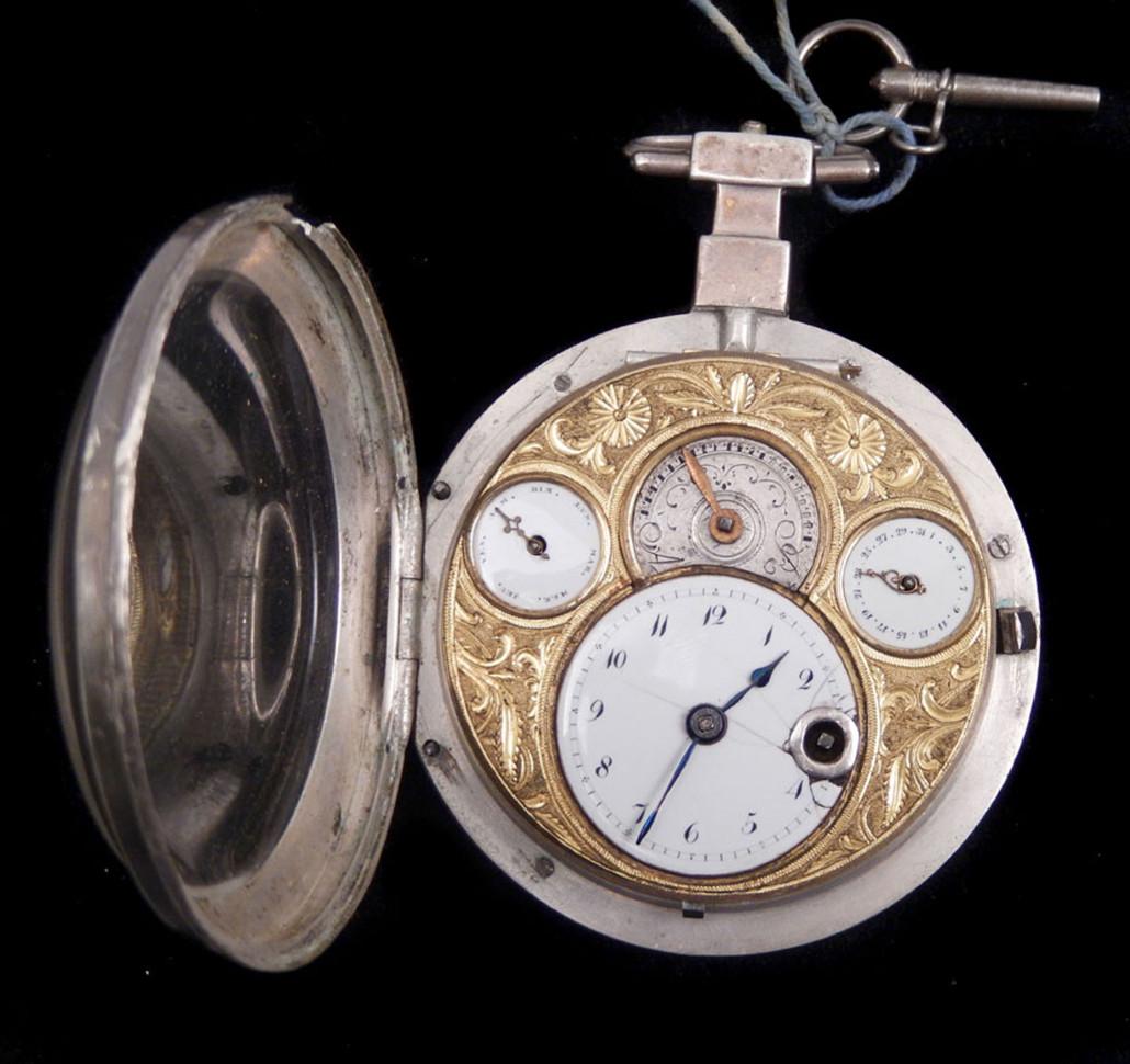 Antique Stauffer et Fils calendar pocket watch with fusee verge movement