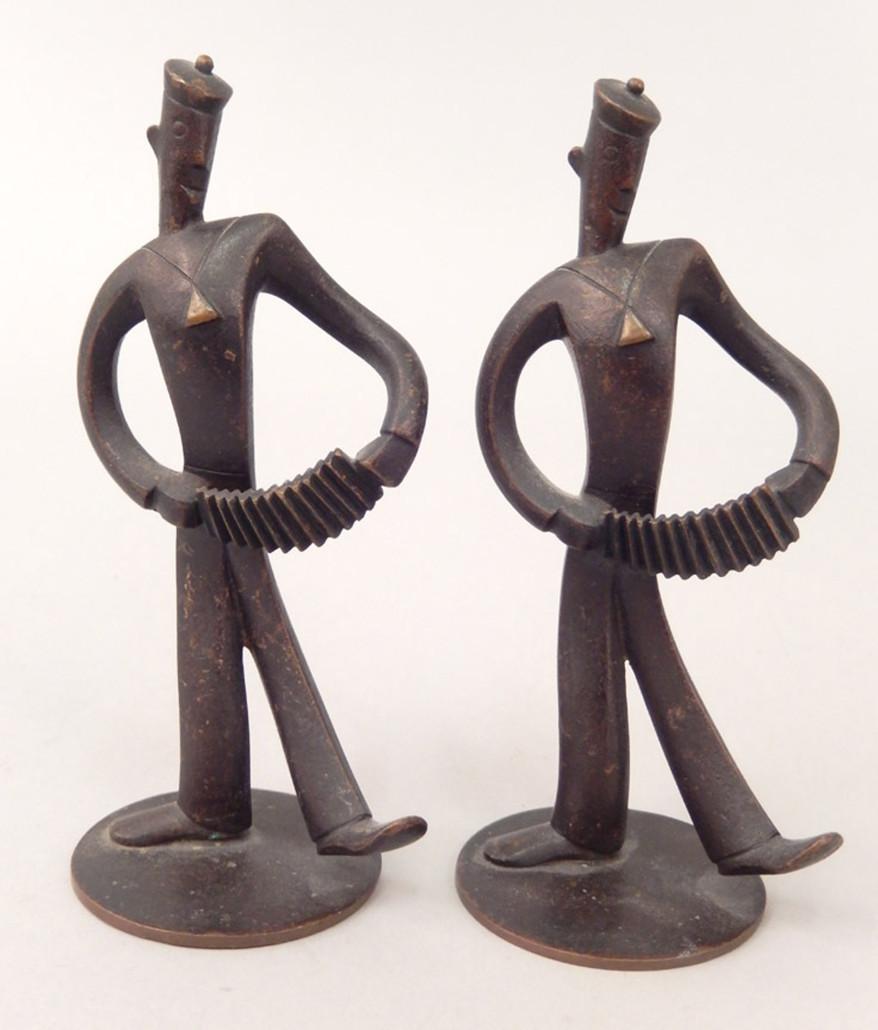 Two Hagenauer Wien metal figurines of sailor musicians