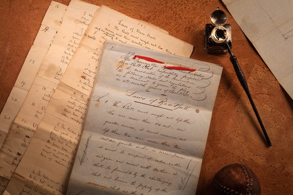Original 1857 'Laws of Baseball' documents. LLL Aucitons image