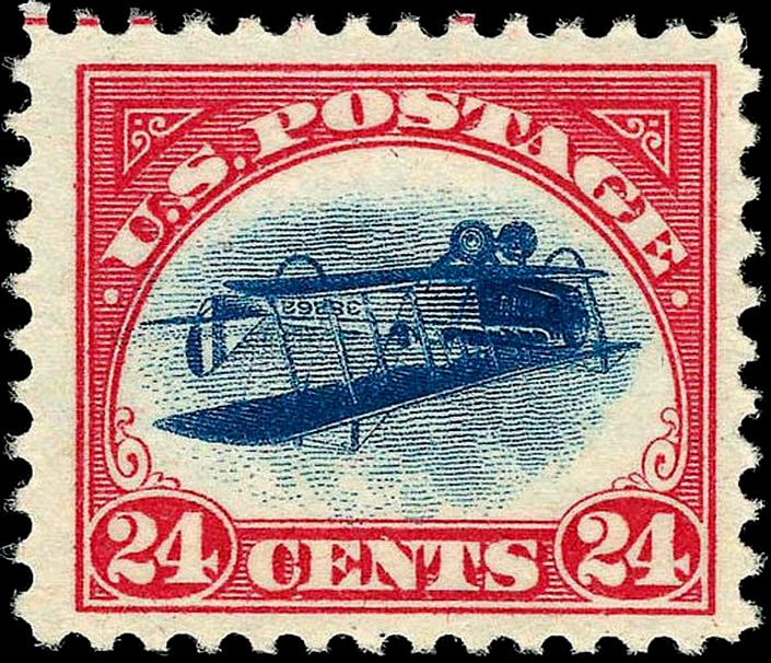 A U.S. Airmail stamp: 'Inverted Jenny' Issue of 1918. Image coutesy of Wikimedia Commons