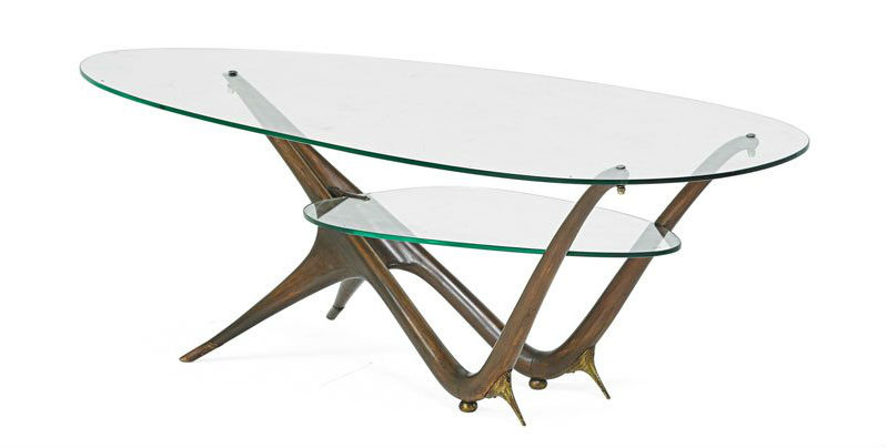 Carlo Mollino (1905-1973) Apelli & Varesio for Singer & Sons rare coffee table no. 1114, Italy, circa 1950. Estimate: $40,000-$60,000. Rago Arts & Auction Center image