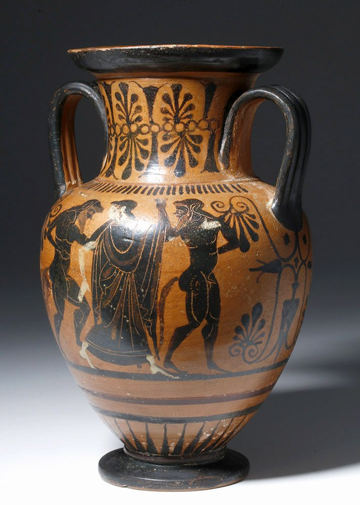 Greek Attic neck amphora with illustrations of Abduction of Hippodameia, est. $30,000-$60,000. Artemis Gallery image
