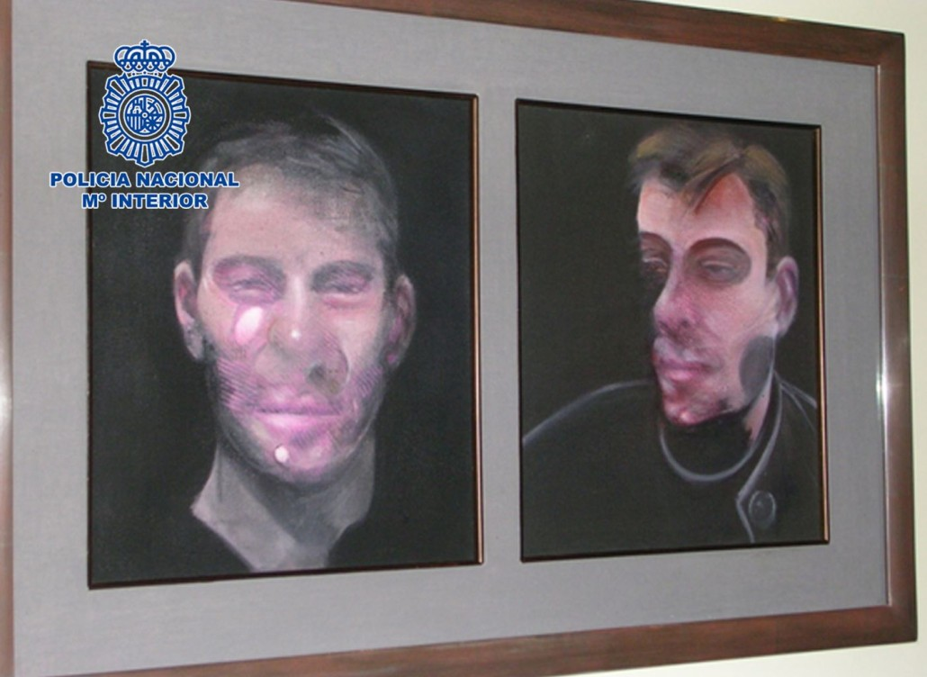 A photo of one of the five stolen Francis Bacon paintings. Spanish Interior Ministry photo.