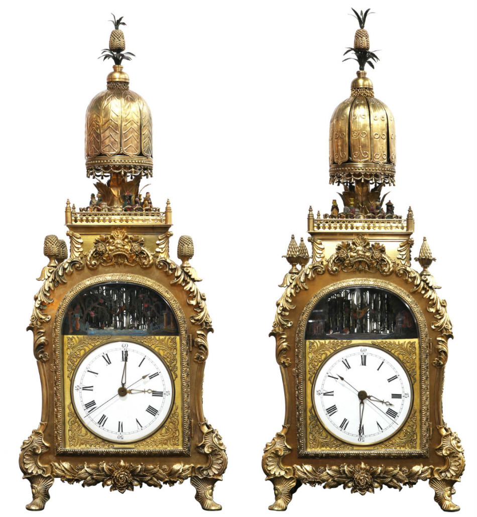 This magnificent pair of rare Chinese ormolu bronze automaton clocks sold for over $600,000, well over their high estimate. Clars Auction Gallery image