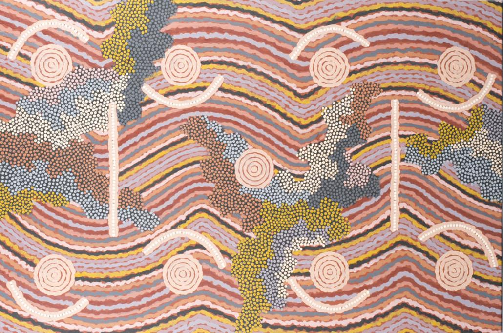 Clifford Possum Tjapaltjari (Aboriginal Australian, 1932-2002), 'Leura Leura Dreaming,' 1996, acrylic on canvas, est. $60,000-$80,000. Quinn's Auction Galleries image
