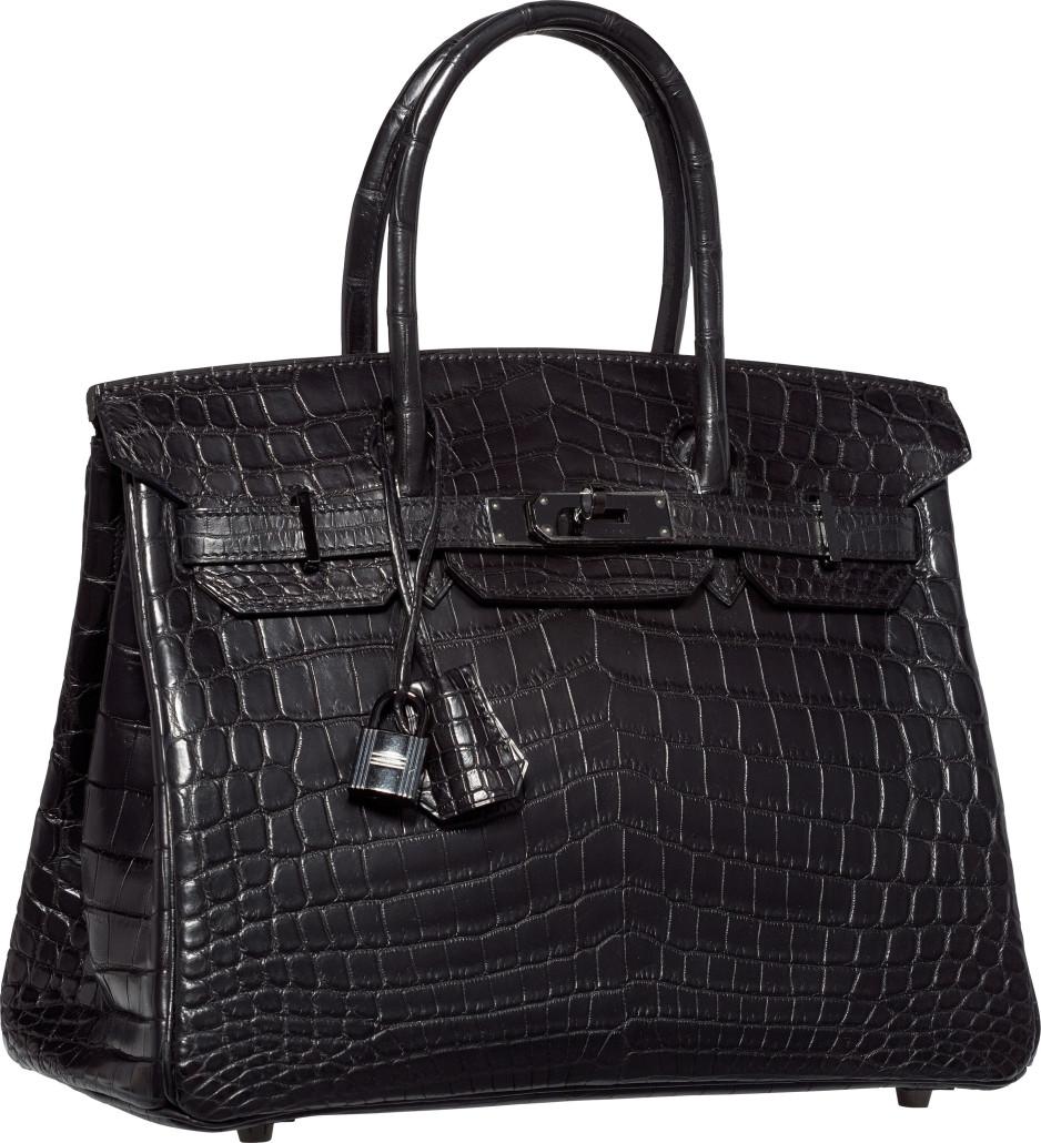 21e292251f5 A rare limited edition 30cm Matte So Black Nilo crocodile Birkin led the  auction