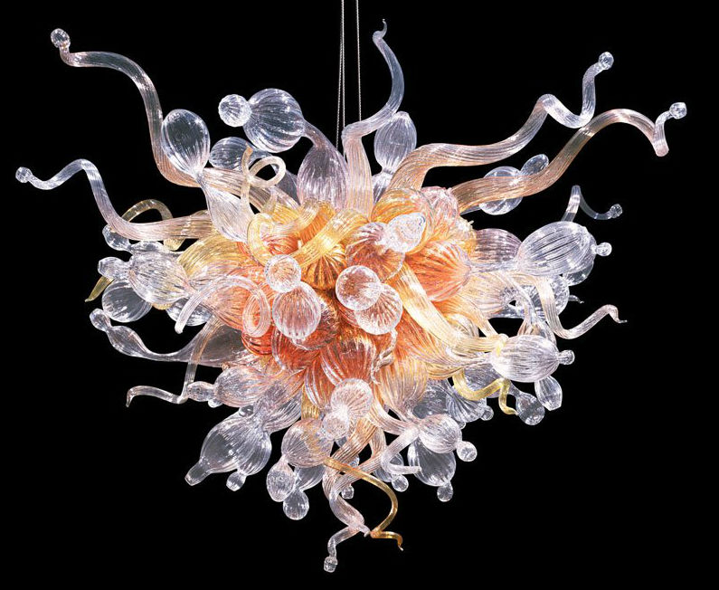 Dale Chihuly (b. 1941), Amber Lustre chandelier, Seattle, Wash., 2000, blown glass, metal armature, 51 x 50 x 50 inches. Estimate: $20,000-$30,000. Rogo Arts & Auction Center image